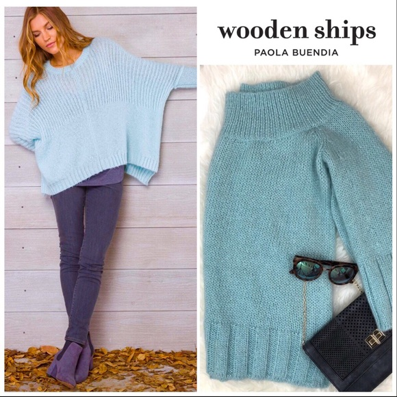 Wooden Ships Slouchy Soft Knit Sweater Aqua